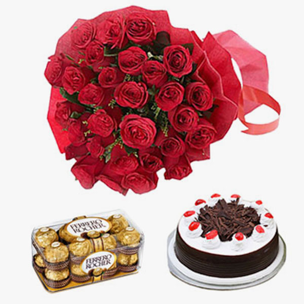 Send Charming Thirty And Black Forest Cake 16 Pcs Ferrero Rocher