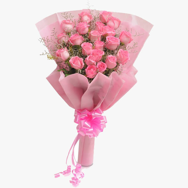 Send Lovely Pink To India Bunch Of 20 Pink Roses Delivery In